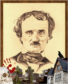Edgar Allan Poe Portrait with graphic below