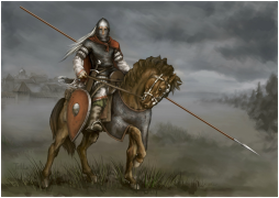 Knight on a horse in a story dark field