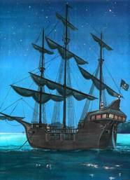 Pirate Ship in a blue night on the blue sea.